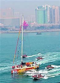 旧金山,帆船 克利伯大帆船16日离青第六赛段驶向旧金山
