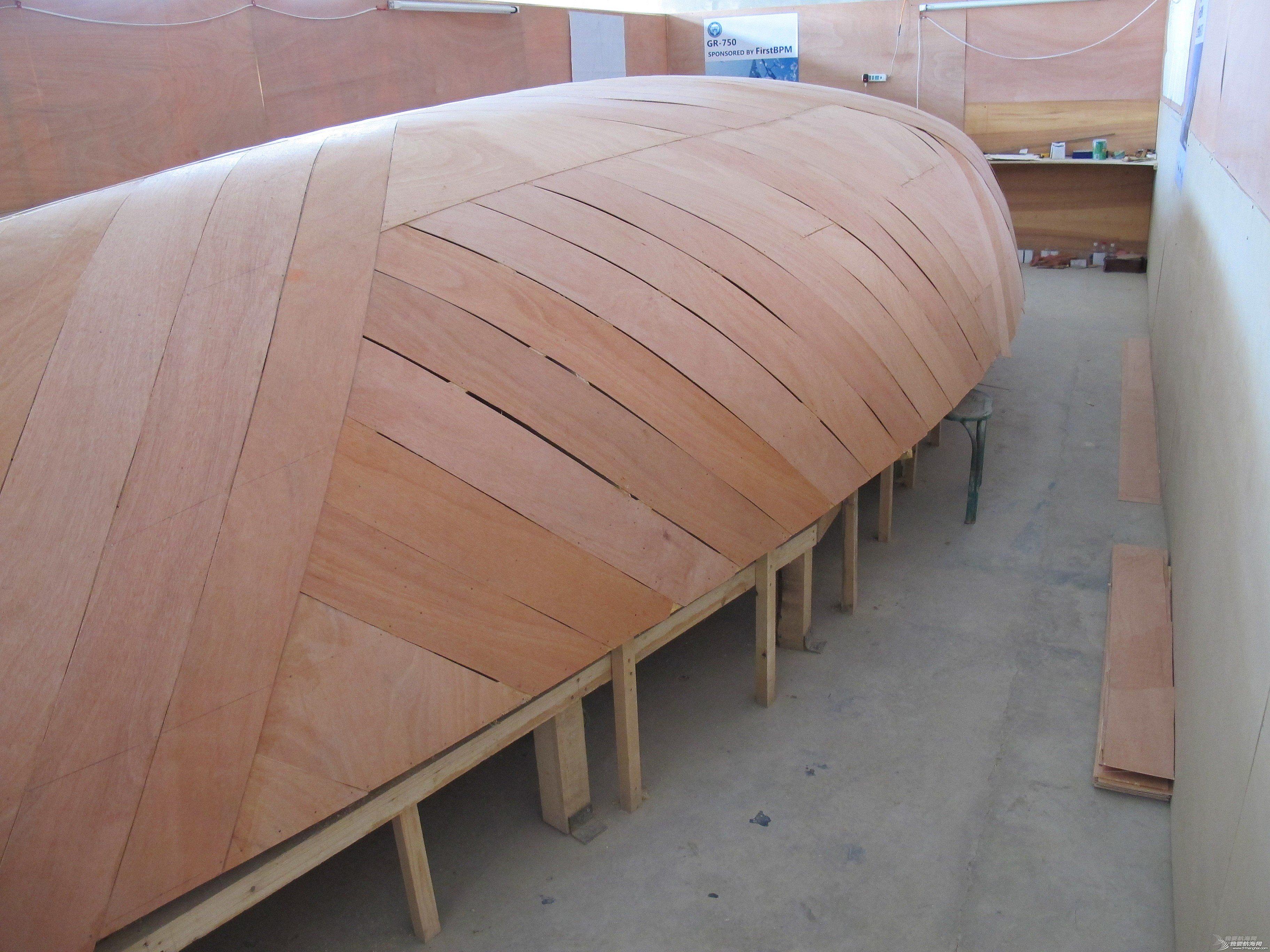 帆船 GR-750帆船DIY船壳板铺装基本完成