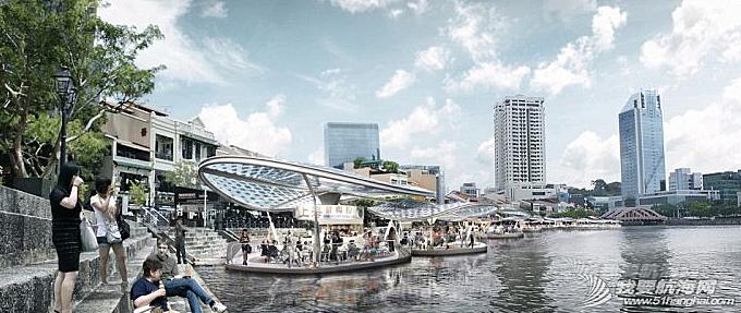 新加坡创意改造海滨区 海上建太阳能流动餐厅