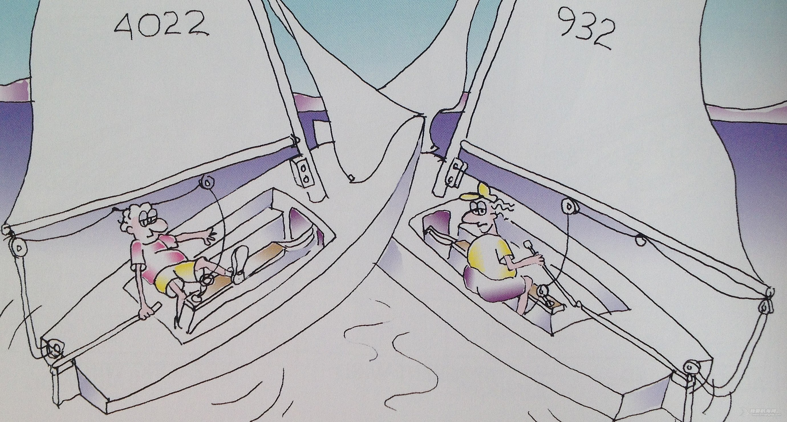 上风,帆船,空间 下风船偏转太快太猛,导致上风船来不及反应采取措施,下风船会因此而取消成绩。