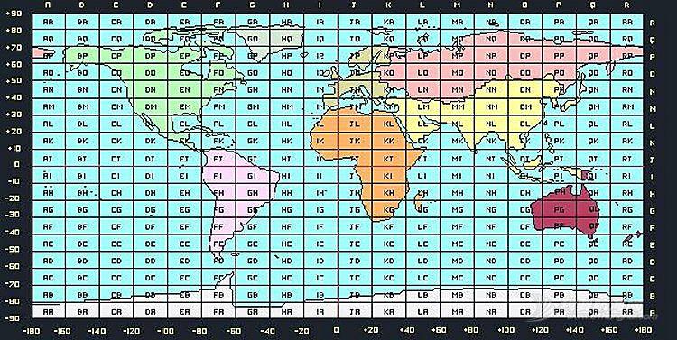 QTH-快速区块定位:Maidenhead Grid Square Locator梅登海德网格定位系统坐标