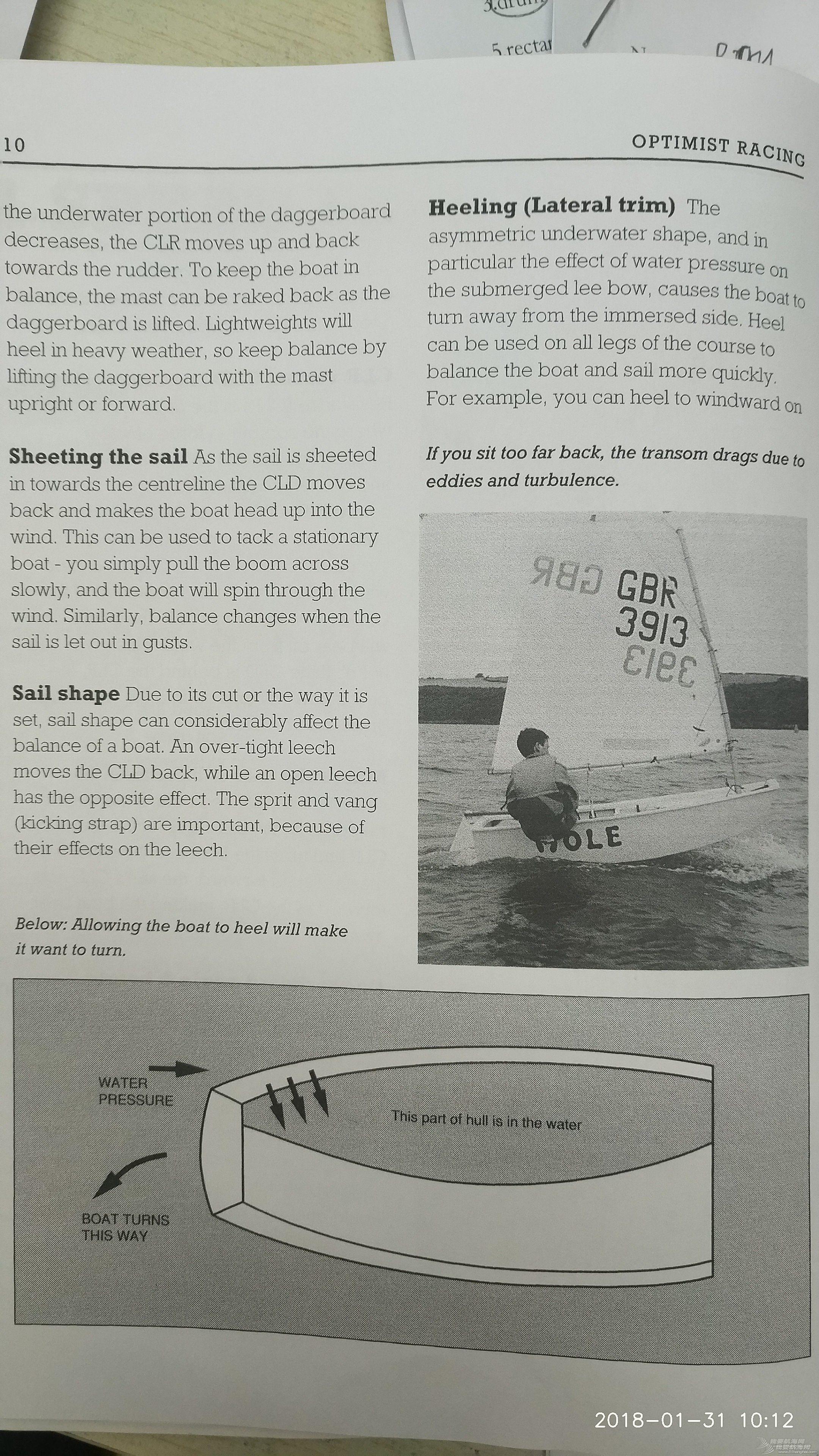 op帆船,稳向板,帆形,阻力中心,动力中心 《乐观级帆船竞赛手册》---第一部分---速度(续)