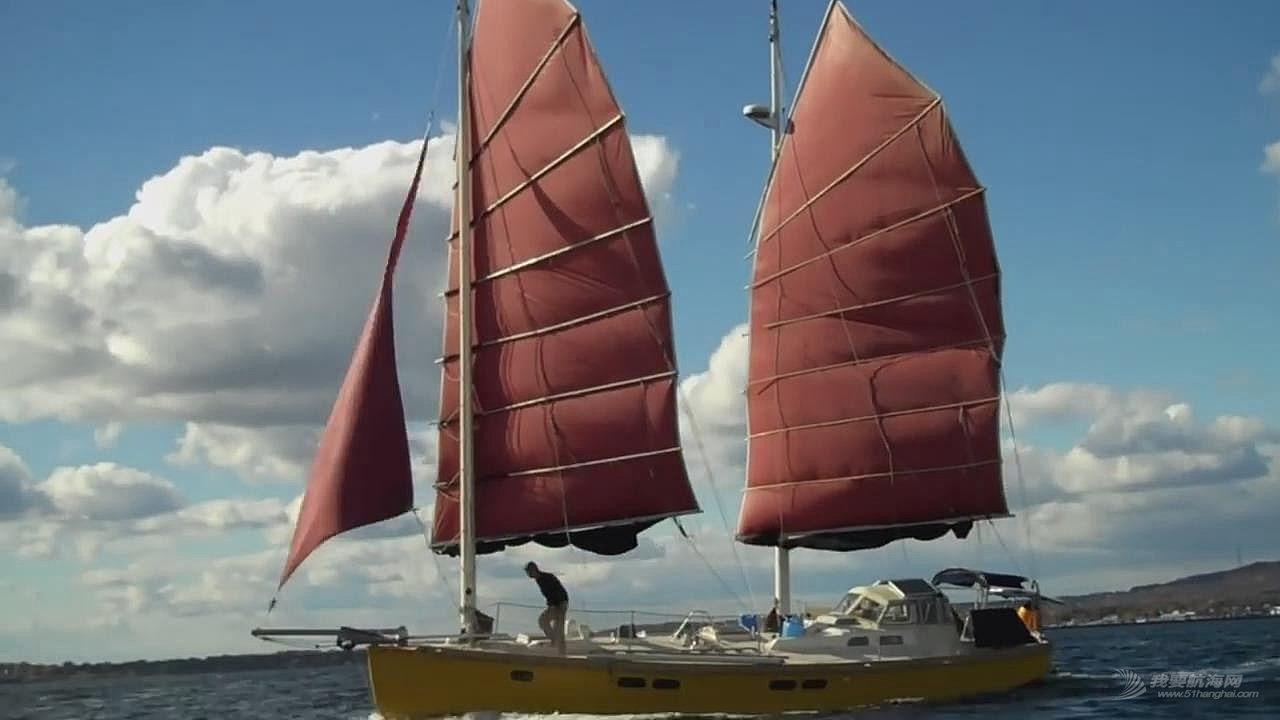 39尺双桅木质帆船Terrapin的建造和结构,中式帆装