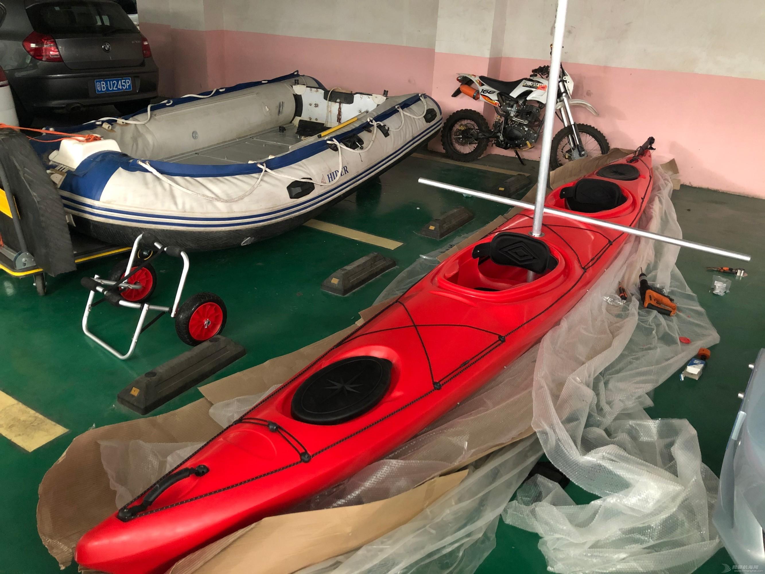 双人皮划艇改的三体帆船正在设计制作中,请多指导我呀